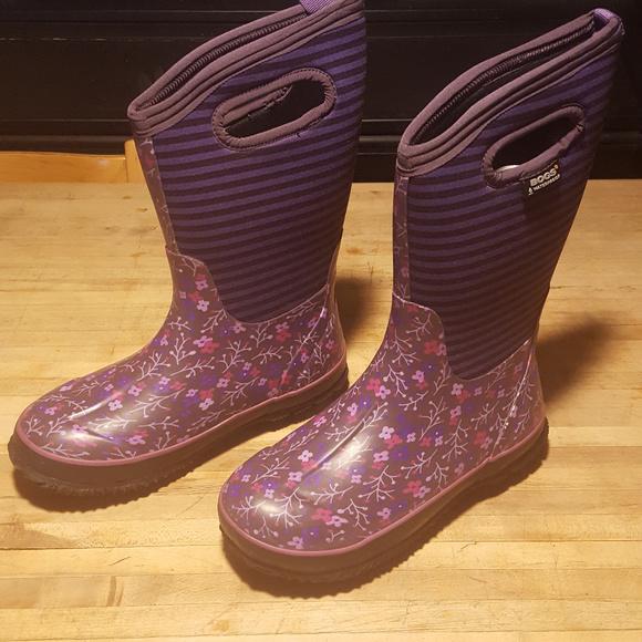Girls Classic Flower Stripe Snow Boots